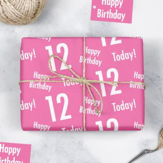 12th Birthday Pink Gift Wrapping Paper & Tags (1 Sheet & 2 Tags) - 'Happy Birthday' - '12 Today'